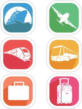 Icons Transportation Vehicle Airplane Train Cruise Ship Bus Silhouette