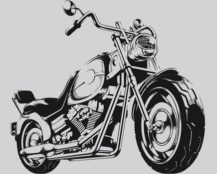 Vintage Motorcycle Chopper Biker Silhouette Illustration Clipart