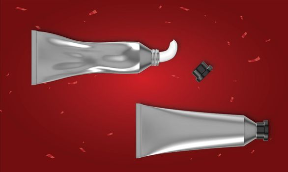 mock up illustration of toothpaste tube on abstract red background