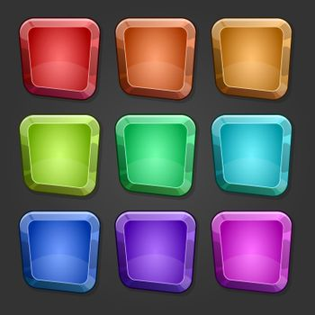 Colorful square buttons with cartoon design vector