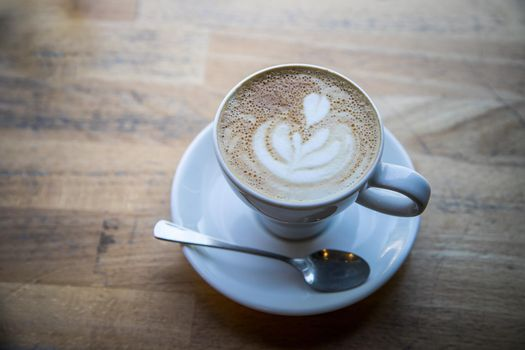 Italian coffee concept: Fresh brewed cup of cappuccino in a café
