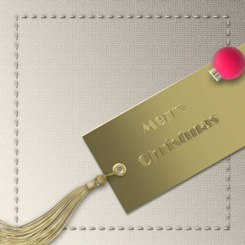 Corporate Christmas New Year 2022 card. Minimalist greeting. Gold gift tag, red ball bauble with text Merry Christmas Happy New Year. Pastel beautiful business card. Place for text. Illustration