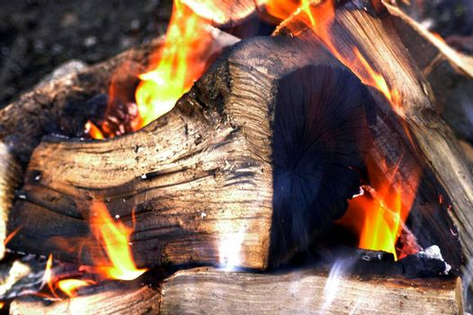 the flames of a burning fire as a heat source