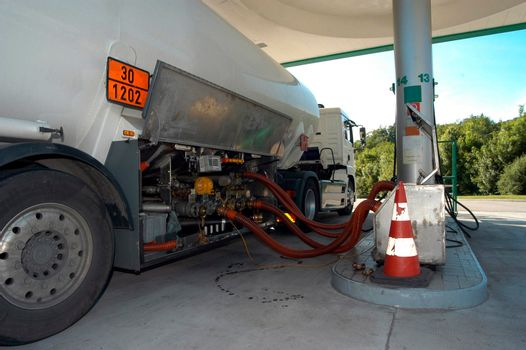 tanker truck for the transport of oil on the road