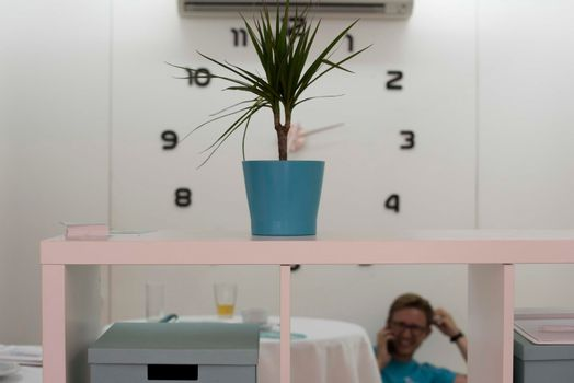 working time or working hours, clock showing the time at work