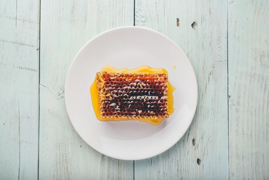 Honeycomb on white plate
