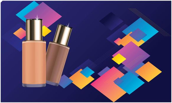 mockup illustration of cosmetic products on cubic background