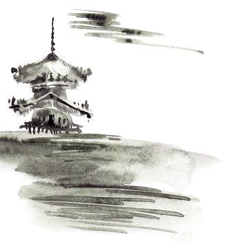 Watercolor pagoda