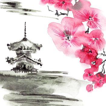 Watercolor pagoda and blossom sakura branch