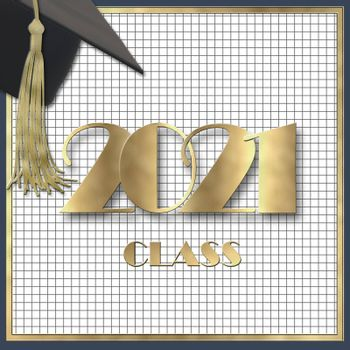 2021 class. Graduation 2021 cap with tassel. Class of 2021 year on squared graph grid paper. Education concept, isolated. Place for text, copy space. 3D illustration