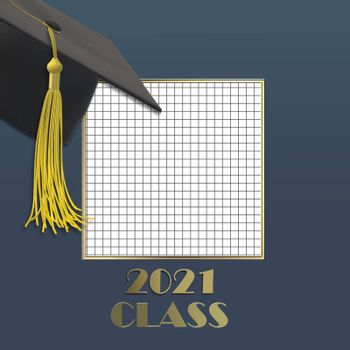 Graduation 2021. Graduation 2021 cap with tassel. Gold text 2021 class on squared grid paper. Education, greetings, achievement concept. Place for text. Mock up, copy space. 3D illustration