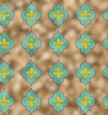 Royal Lily Fleur de Lis Seamless Pattern. Turquoise blue seamless background with lily fleur de lis for print fabric or poster. 3Dillustration