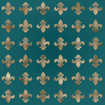 French heraldic seamless floral pattern of golden fleur-de-lis motif on gold green background. vintage interior accessories, upholstery design. Illustration