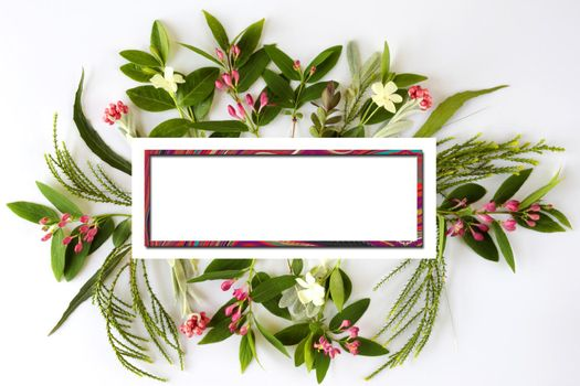 Beautiful Flowers border with gold frame for mock up. Spring summer flowers for invitation, wedding or greeting cards. Mothers day greeting
