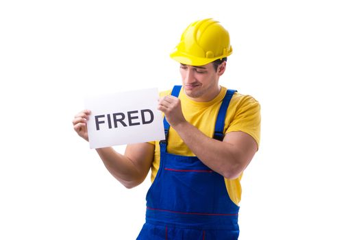 Repairman fired from his job isolated on white