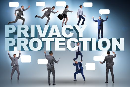Data privacy protection concept with business people