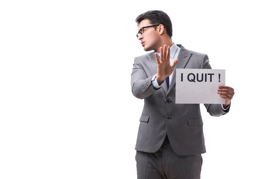 Businessman in resignation concept isolated on white background