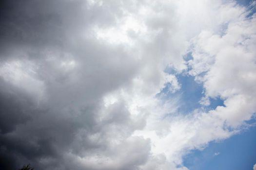dark clouds with blue skies