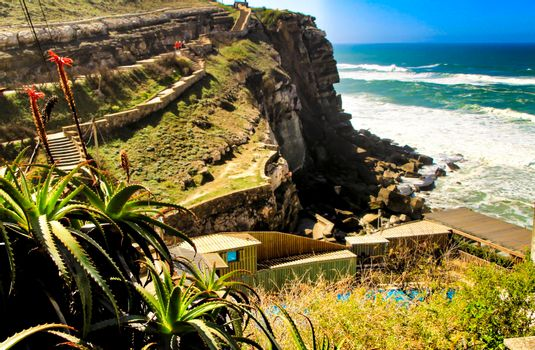 Beautiful brave sea and cliffs of the coast of Azenhas do Mar in Portugal in Spring