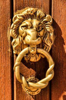 Vintage door knocker lion shaped on brown wooden door