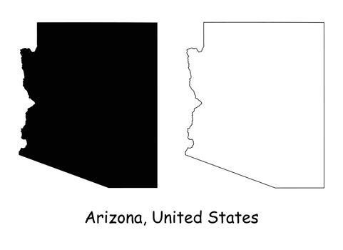 Arizona AZ State Border USA Map