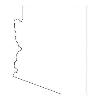 Arizona AZ State Border USA Map Outline