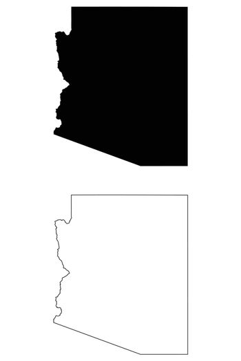 Arizona AZ state Map USA. Black silhouette and outline isolated maps on a white background. EPS Vector