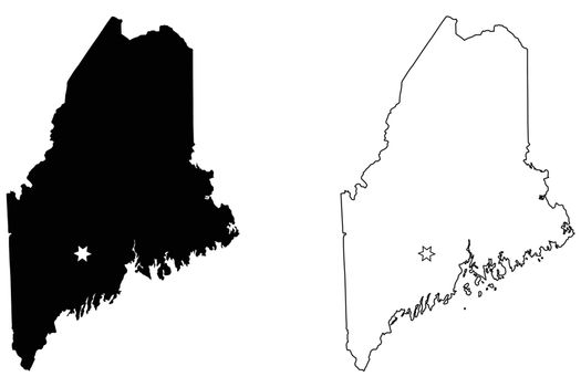 Maine ME state Map USA with Capital City Star at Augusta. Black silhouette and outline isolated on a white background. EPS Vector