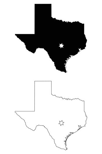 Texas TX state Map USA with Capital City Star at Austin. Black silhouette and outline isolated maps on a white background. EPS Vector