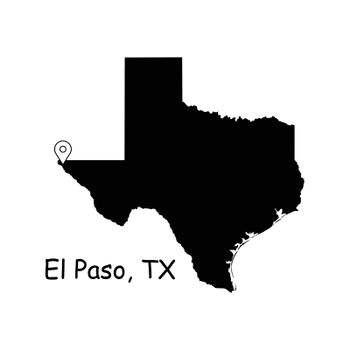 1297 El Paso TX On Texas State Map