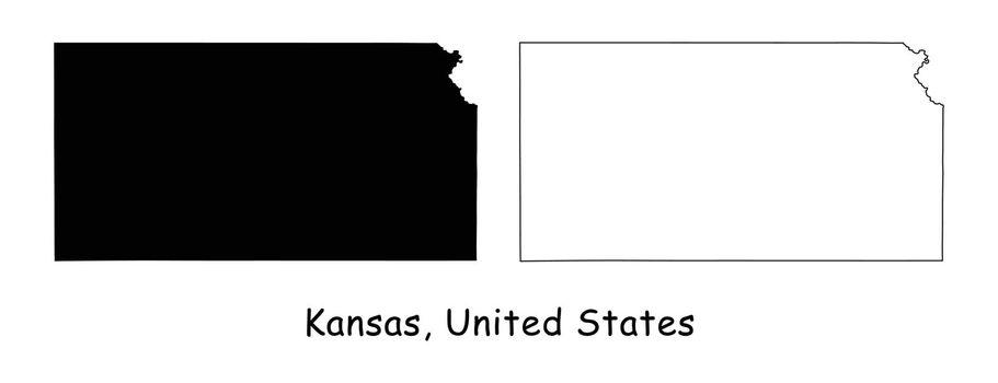 Kansas KS State Border USA Map