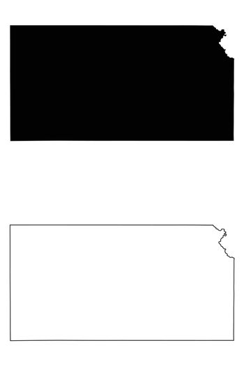 Kansas KS state Maps. Black silhouette and outline isolated on a white background. EPS Vector