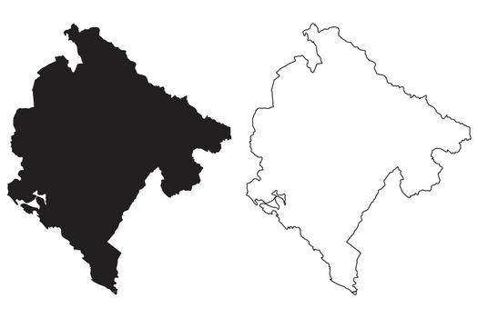 Montenegro Country Map. Black silhouette and outline isolated on white background. EPS Vector