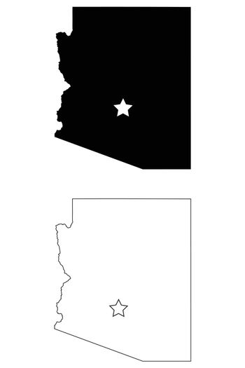 Arizona AZ state Map USA with Capital City Star at Phoenix. Black silhouette and outline isolated maps on a white background. EPS Vector