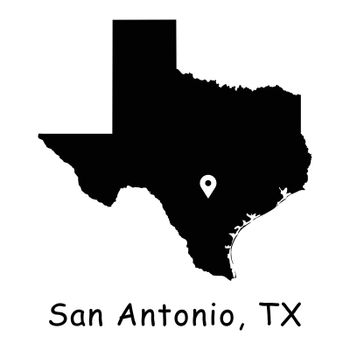 1288 San Antonio TX on Texas State Map
