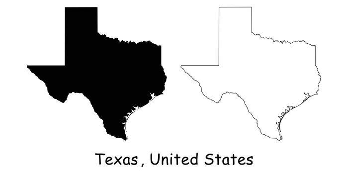 Texas TX State Border USA Map