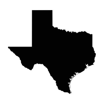 Texas TX State Border USA Map Solid