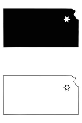 Kansas KS state Maps with Capital City Star at Topeka. Black silhouette and outline isolated on a white background. EPS Vector
