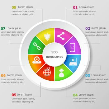 Infographic design template with seo icons