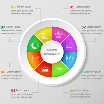 Infographic design template with graph icons