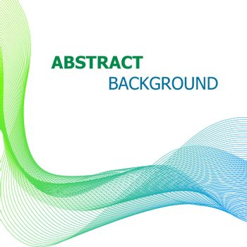 Abstract background with green and blue line wave