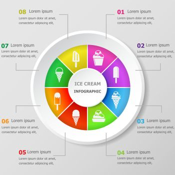 Infographic design template with ice cream icons
