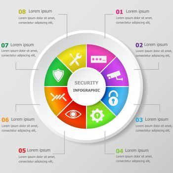 Infographic design template with security icons