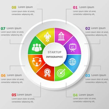 Infographic design template with startup icons