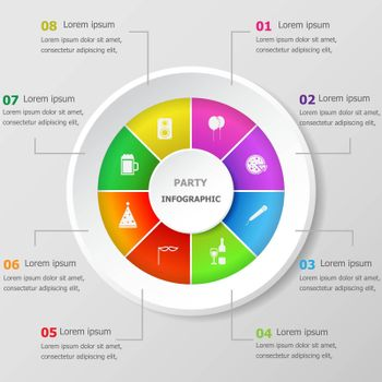Infographic design template with party icons
