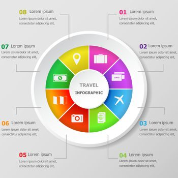 Infographic design template with travel icons