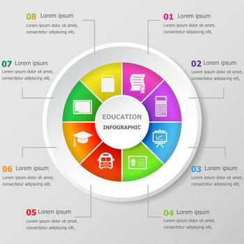 Infographic design template with education icons
