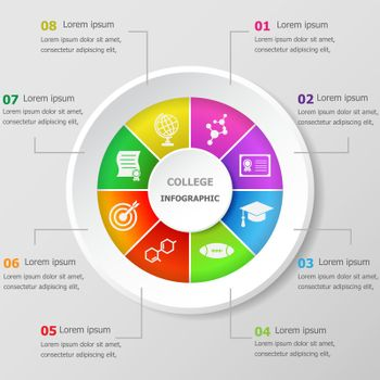 Infographic design template with college icons