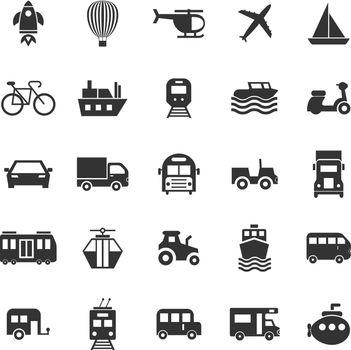 Vehicle icons on white background