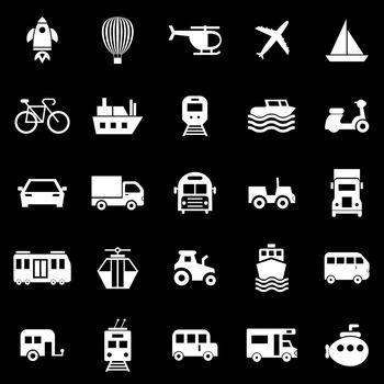 Vehicle icons on black background